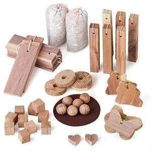 JRing Lot de 42 Blocs de cèdre aromatique avec Papier de Verre pour placards et tiroirs