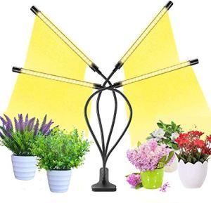 Lampe de Plante, 80W Lampe LED Horticole Croissance Floraison Grow Light avec 360° Adjustable Agrafe 3/6/12H Cycle Minuterie 4 Modes 10 Luminosité