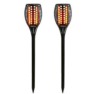 Lampes solaires d'extérieur TEQStone, lampes torches solaires de jardin à LED, effet de flamme scintillant réaliste, IP65 étanche (pack de 2)