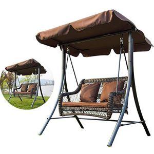 L.BAN Swing Hammock Garden Patio Swing Chair 2 Seater Swing Seat with Load Sun Canopy Garden Swing Bench, for Outdoor, Terrace