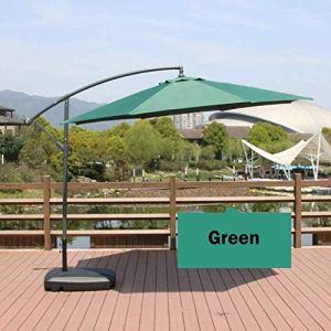 Lloow Parasol de Jardin Parasol Cantilever Parapluie, 3m / 8 Nervures/manivelle Bouton/Inclinaison / 250 g Tissu Polyester/Base d'injection d'eau 2020,Vert