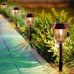 Lot de 4 lampes solaires pour allée – Éclairage d'extérieur LED – Étanchéité IP65 – Durée de vie de 8 à 10 heures – 10 à 40 lumens – Réglables – Blanc chaud – Pour jardin, allée, cour