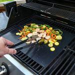 Lot de 5 tapis de cuisson pour barbecue – Antiadhésif – Réutilisable – Sans APFOA – Idéal sur les barbecues au charbon, au gaz et au Weber Style – Pour barbecue à gaz, grillades et pâtisseries