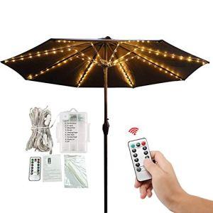 Lumières de parapluie de patio de 104 LED lumineuses imperméables extérieures avec télécommande à 8 modes pour tentes de camping de parasols de jardin