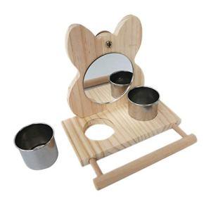 Mangeoire à oiseaux, perchoir à oiseaux avec miroir Cage de perroquet Plate-forme de jeu en bois Bol de tasses d'alimentation