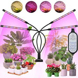 MiMiya Lampe de Plante, Lampe de Croissance, 4 Têtes Lampe Horticole Spectre Complet à 360° Éclairage Horticole avec Chronométrage Auto- on/Off 3/6/12H 5 Modes 10 Luminosité pour Intérieur/Jardin