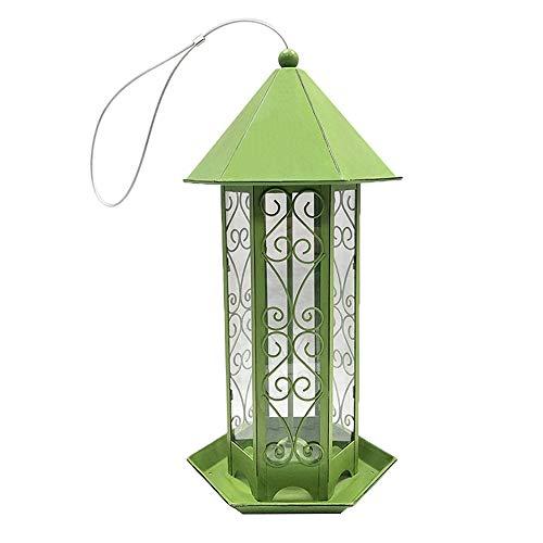Montloxs Mangeoire à Oiseaux Panorama, en Forme d'hexagone avec mangeoire à Oiseaux Suspendue au Toit pour la Décoration de Jardin (Vert)