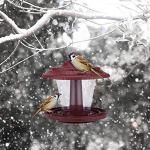 Montloxs Mangeoire à Oiseaux Sauvages Suspendue en Plein air, décoration de Jardin extérieur Suspendue en Plastique, Forme de pavillon Clair avec Toit, mangeoires à Oiseaux imperméables