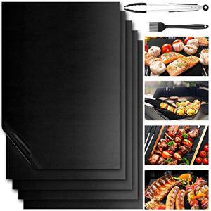 Newdora Set de 7 Tapis de Cuisson 40x30cm Anti-adhésif, Tapis de Cuisson Barbecue pour Les Barbecue à Gaz, Charbons ou Électriques