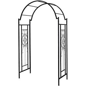 OUTOUR Arche de jardin avec treillis pour plantes grimpantes, roses, vignes, pour jardin, pelouse, cour, patio, noir mat
