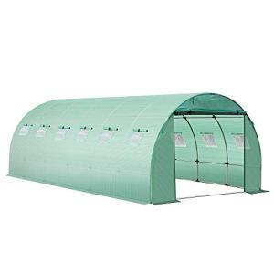 Outsunny Bâche de Rechange Serre Tunnel 18 m², bâche dim. 6L x 3l x 2H m PE Anti-UV imperméable 12 fenêtres + Porte Enroulable zippée Vert