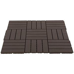 Outsunny Caillebotis – Dalles terrasse – Lot de 9 – emboîtables, Installation très Simple – Petits Carreaux Composite Plastique Imitation Bois Chocolat