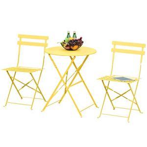 Outsunny Salon de Jardin Bistro Pliable – Table Ronde Ø 60 cm avec 2 chaises Pliantes – métal thermolaqué Jaune