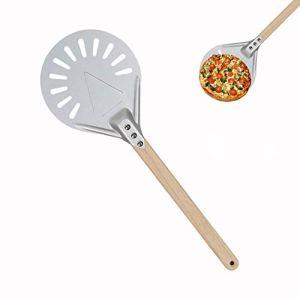 Pelle à Pizza Perforée Matériau De Mise à Niveau De La Peau De Rotation De La Pizza Palette De Pizza à Rotation Ronde En Aluminium Durable Antidérapante Avec Poignée En Bois Anti-brûlure Pour Boulange
