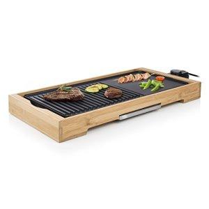 Plancha de table Tristar Bamboo Grill XL BP-2641 noire – 6 personnes – Plaque de cuisson en fonte d'aluminium 51 x 25,4 cm