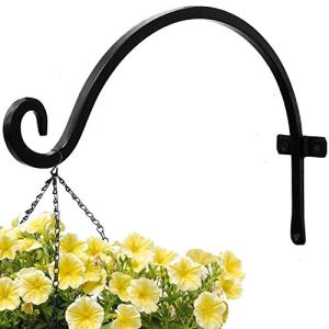 Plant Hook for Basket (14 inches-Black) Durable Iron Hanger and Rust-Resistant Curved Hook for Plants Garden Outdoor Hanging Plant Bracket