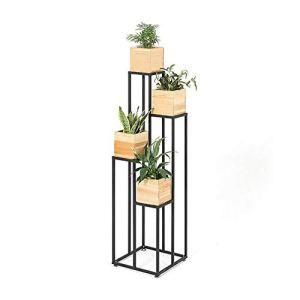 Porte-Fleurs, Cadre for Bonsaï en Fer Forgé for Balcon – Type De Sol, Support for Plantes en Pot À 4 Couches – Présentoir for Pots De Fleurs D'intérieur avec 4 Pots De Fleurs (Size : 40×40×120cm)