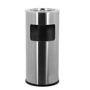 QARYYQ Grande poubelle ronde en acier inoxydable pour sabler les cendres, siège de protection de l'environnement