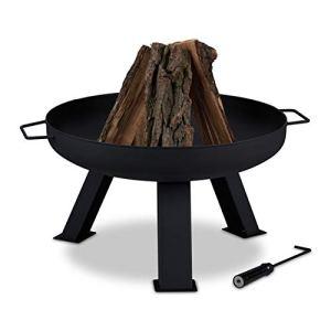 Relaxdays Brasero de Jardin, Ø 60 cm, tisonnier Inclus, pour la terrasse, bac à feu en Acier, Rond, Grand Foyer, Noir