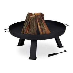 Relaxdays Brasero de Jardin, Ø 80 cm, tisonnier Inclus, terrasse, bac à feu en Acier, Chauffage extérieur, Noir