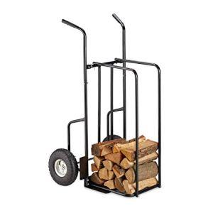 Relaxdays Chariot cheminée XL en métal, avec 2 Grosses Roues, Jusqu'à 200kg, Transport de Bois, Noir