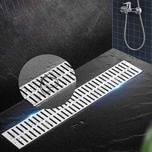 Rigole d'évacuation avec grille, Conduit de draina Douche de douche linéaire, grille en acier inoxydable Couvre-tranchée de grille de déplacement Grande Remplacement de la grille d'eau anti-encrasseme