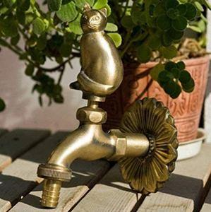 Robinet de jardin robinet en forme d'animal en laiton antique gros chat, utilisé pour le récurage