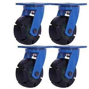 Roulettes Industrielles Extra-Robustes, D'établi Pivotant À 360 °, Platine Détachable, Silencieux Et Portable, 4 Pièces