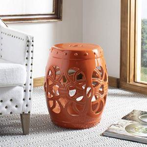 Safavieh Imperial Vine Ceramic Decorative Garden Stool, Orange