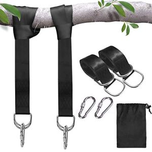 Sangles de suspension pour balançoire d'arbre, balançoires en corde pour arbre, kit de suspension avec mousquetons de sécurité, terylene, convient à toutes les balançoires et hamacs, 1000kg, 1.5m