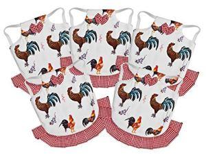 Seidens Lot de 5 tabliers de poulet en coton durable facile à enfiler pour volailles de taille moyenne Motif poule avec nœuds et volants, rouge