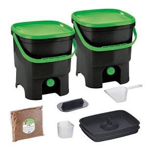 Skaza Bokashi Organko Set (2 x 16 L) Composteur 2X pour Jardin et Cuisine en Plastique Recyclé | Kit de démarrage avec Activateur de Fermentation Bokashi Organko 1 kg (Noir-Vert)