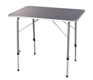 Spetebo Table pliante en métal 80 x 60 cm – Hauteur réglable – Table d'extérieur stable