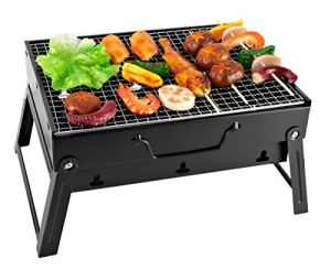 SunJas Barbecue Portable Mini Barbecue à Charbon Pliable BBQ Grill Barbecue Démontable de Table 35 x 27 x 19.5 cm pour Jardin, Balcon, Voyage, Camping – Noir