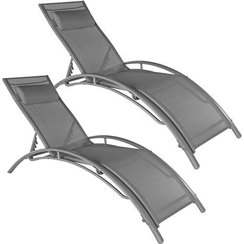 TecTake 800675 2 Bains de Soleil en Aluminium, inclinables sur 5 Positions, pour Jardin et Piscine, Coussin pour la tête Inclus – Plusieurs Coloris Disponibles – (Gris   no. 403063)