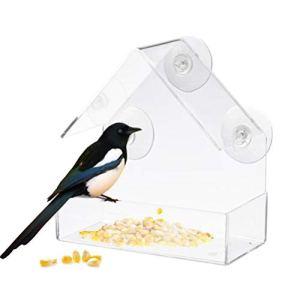 TeeFly Station d'alimentation pour Oiseaux Mangeoire pour Oiseaux en Acrylique Transparent avec Ventouse Station d'alimentation pour Oiseaux avec Station d'alimentation sur Support pour accrocher