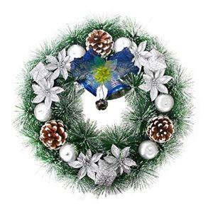 THTMS Couronne de Noël pour porte d'entrée, décoration de vacances pour intérieur, extérieur, décoration de fête, couronne de décoration à suspendre 30,5 cm