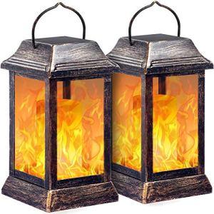 TomCare Lot de 2 Lampes solaires en métal à flamme vacillante, lanternes à suspendre, idéales pour l'extérieur, lampes à énergie solaire très résistantes, étanches, pour patio, jardin, terrasse, cour