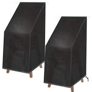 VAZILLIO Housse de protection pour chaises de jardin – Protection des chaises empilables Oxford – Imperméable – Coupe-vent – Résistant aux déchirures – Protection UV – 2 pièces – 75 x 75 x 120 cm