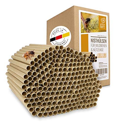 wildtier herz Kit Maison d'abeille – 200 Pièces Ø 8 mm, Ruche pour Abeilles, Maison Insectes – en Carton 100% Écologiques pour Les Hôtels à Insectes