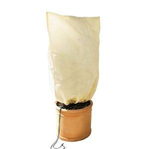 Yagosodee Housse de Protection Hivernale pour Plantes avec Cordon de Serrage Housse pour Plantes en Pot D'extérieur Réutilisable (Beige)