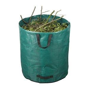 5 sacs poubelle de jardin en polypropylène résistant à la déchirure – Pliable – 2 poignées de transport et 2 poignées de vidange – Capacité : environ 272 l – Diamètre x hauteur : environ 67 x 77 cm.
