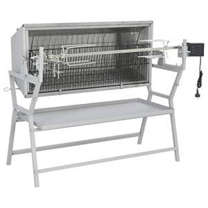 Ausla Tourne Broche Electrique pour Barbecue, Broche à rôtir de Barbecue Fer et Acier Inoxydable