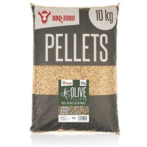 BBQ-Toro Olive Pellets Composer de 100% Bois d'olivier | 10 kg | Pellets d'olive pour Grill, fumoir, Four à Pizza à pellets et systèmes de Chauffage | Pellets de Grill