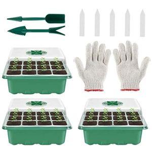Buat Boîte de semis en plastique 12 trous avec plateau pour semis, boîte de semis charnue, conservation de la chaleur et hydratation