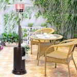 Chauffage Radiant Chauffe-terrasse à gaz pour Patio Chauffe-terrasse Parasol Chauffe-gaz Chauffe-gaz Mobile Mobile Application Domestique avec Protection Contre l'inclinaison et arrêt Automatique