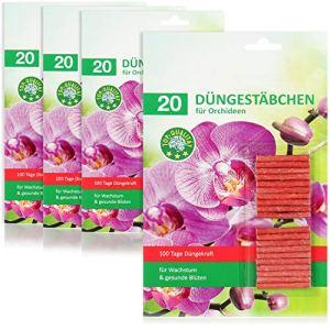 com-four® Engrais 80x en bâtonnets pour orchidées, Engrais équilibré pour orchidées, pour Un développement sain, Un Pouvoir de Floraison Vert Riche et Lumineux