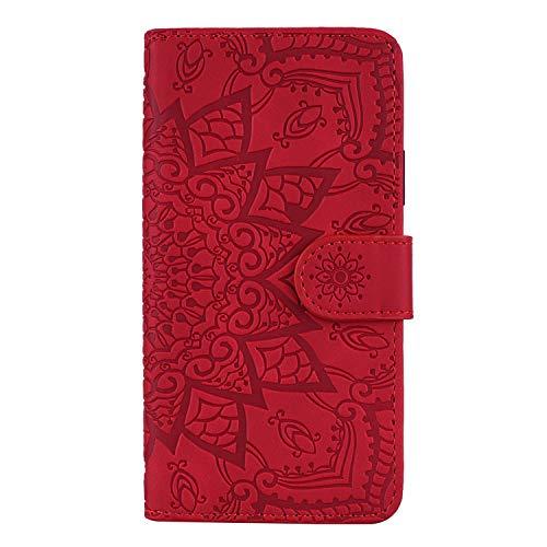 Coque pour Xiaomi Mi 9 Lite / CC9 Coque,Housse en Cuir Flip Case Portefeuille Etui avec Stand Support et Carte Slot pour Xiaomi Mi 9 Lite – EYHF010627 Rouge