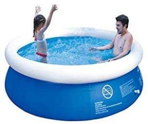 Dattdey Piscine gonflable avec anneau supérieur pour extérieur, jardin, pelouse, piscine, piscine ronde pour enfants ou adultes, bleu