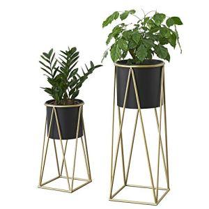 [en.casa] Set de 2 Supports de Plante Cache-Pot Pot de Fleur Bac à Fleurs Vase Métal Couleur Laiton et Noir Tailles Différentes